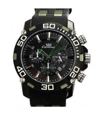 Ciemme Luxury Sport Green Bezel Swiss Quartz Movement Black Silicon Strap