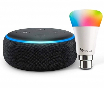Echo Dot (3rd Gen Black) Bundle with Syska 9W smart color bulb