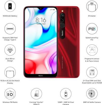 Redmi 8 (Ruby Red, 64 GB)  (4 GB RAM)