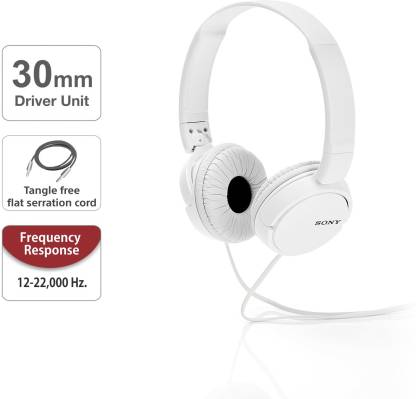 Sony ZX110A Wired Headphone  (White, Over the Ear)
