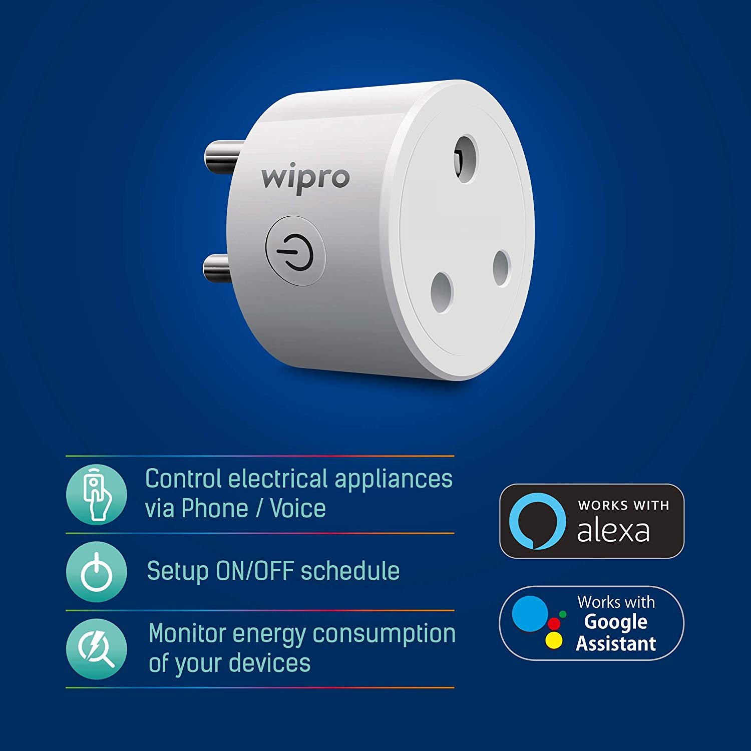 Wipro 10 Amp Smart Plug(With Alexa Control)
