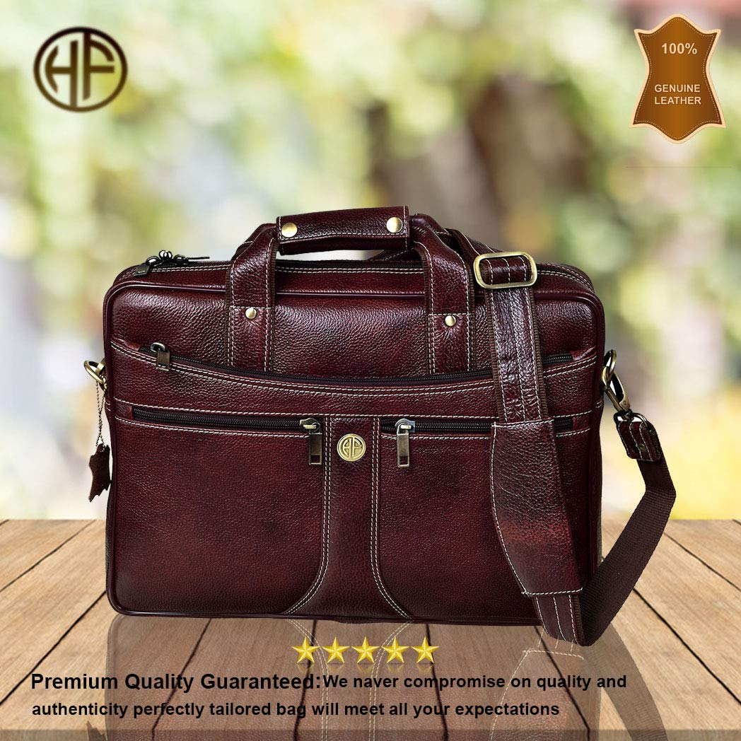 Hammonds Flycatcher Bombay Brown Leather 15.6 inch Laptop Messenger Bag (L=39,B=9, H=27 cm)