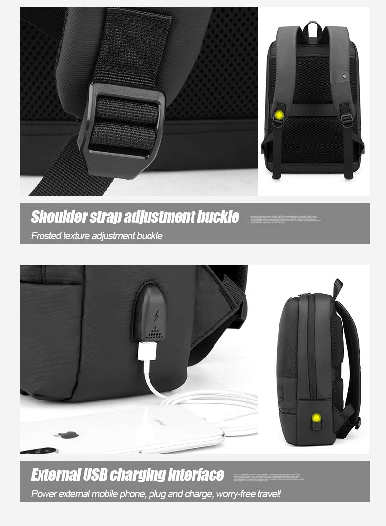AH Arctic Hunter 15.6 Polyester Laptop Backpack for Business, Office & Travel with 3 compartments & External USB Charging Port, Water Repellent & Scratch Resistant (Black)