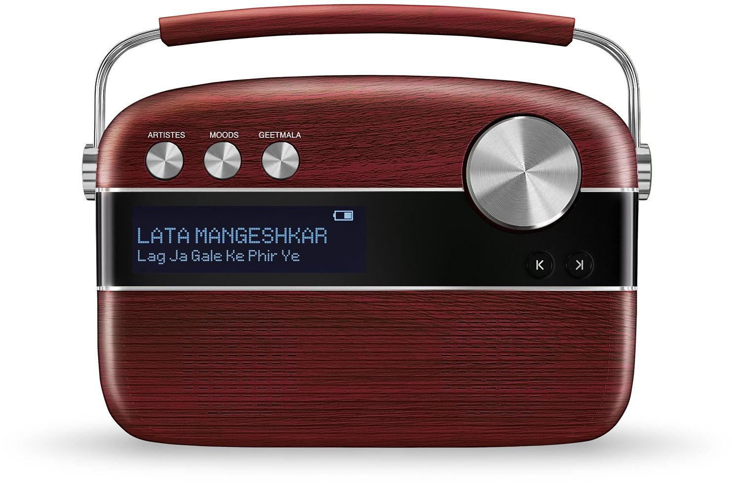 Saregama Carvaan Hindi - Portable Music Player with 5000 Preloaded Songs, FM/BT/AUX (Cherrywood Red)