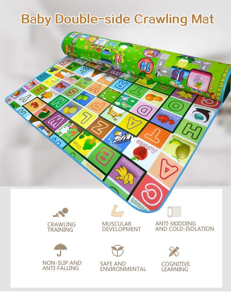 Owme Double Sided Water Proof Baby Mat Carpet for Kids 6 feet X 5 feet (Multicolour)